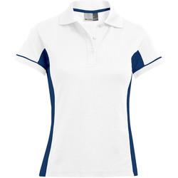 Vêtements Femme Polos manches courtes Promodoro Polo fonctionnel Femmes blanc / indigo