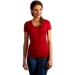 Vêtements Femme T-shirts manches courtes Promodoro T-shirt slim col V Femmes rouge feu