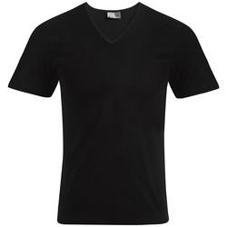 Vêtements Homme T-shirts manches courtes Promodoro T-shirt slim col V Hommes noir