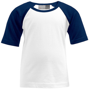 Vêtements Enfant T-shirts manches courtes Promodoro T-shirt Raglan Baseball Enfants blanc / bleu marine