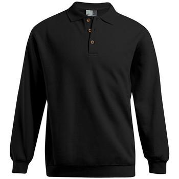 Vêtements Homme Sweats Promodoro Polo sweat manches longues grandes tailles Hommes noir