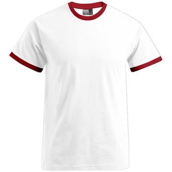 Vêtements Homme T-shirts manches courtes Promodoro T-shirt Contraste Hommes blanc / rouge feu