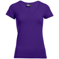Vêtements Femme T-shirts manches courtes Promodoro T-shirt slim col V Femmes violet pansy