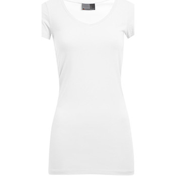 Vêtements Femme T-shirts manches courtes Promodoro T-shirt long col V slim grandes tailles Femmes blanc