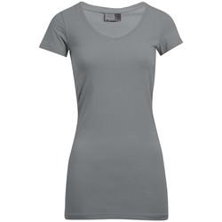 Vêtements Femme T-shirts manches courtes Promodoro T-shirt long col V slim Femmes gris foncé-mélange