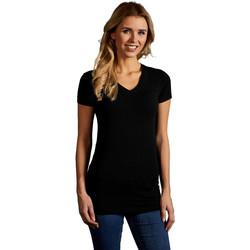 Vêtements Femme T-shirts manches courtes Promodoro T-shirt long col V slim Femmes noir