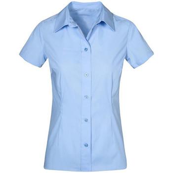 Vêtements Femme Chemises / Chemisiers Promodoro Chemise Business manches courtes grandes tailles Femmes bleu pale