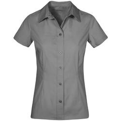 Vêtements Femme Chemises / Chemisiers Promodoro Chemise Business manches courtes grandes tailles Femmes gris acier