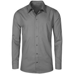 Vêtements Homme Chemises manches longues Promodoro Chemise Business manches longues grandes tailles Hommes gris acier