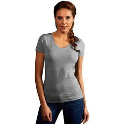 Vêtements Femme T-shirts manches courtes Promodoro T-shirt slim col V Femmes gris foncé-mélange