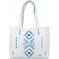 Sacs Femme Cabas / Sacs shopping Texier Sac cuir  motif ethnique 21004i fabrication France Blanc / blanc cassé