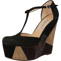 Chaussures Femme Sandales et Nu-pieds Gianni Marra talons compensé noir daim gris AK894 noir