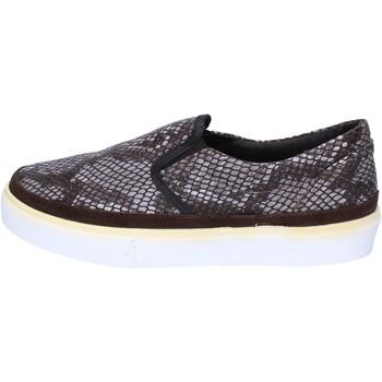 Chaussures Femme Slip ons 2 Stars slip-on brun foncé textile gris daim ap718 marron