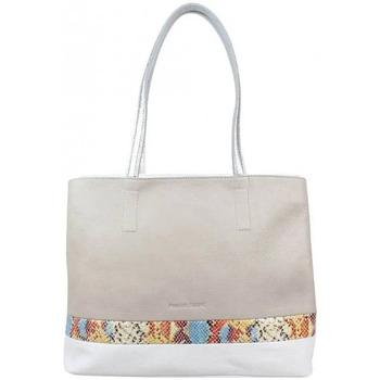 Sacs Femme Cabas / Sacs shopping Patrick Blanc Sac cabas  en cuir souple et bande effet lézard Beige