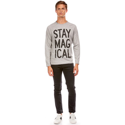 shirts Gris Best Shirt T Longues Slogan Manches Chine Mountain Homme Tee qMVGSpUz