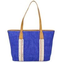 Sacs Femme Cabas / Sacs shopping Fuchsia Sac cabas bande déco toile délavée  Milli Bleu foncé