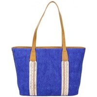 Sacs Femme Cabas / Sacs shopping Fuchsia Sac cabas déco bande / toile délavée  Milli bleu