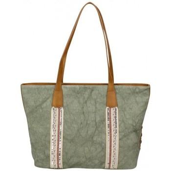 Sacs Femme Cabas / Sacs shopping Fuchsia Sac cabas bande déco toile délavée  Milli Vert kaki