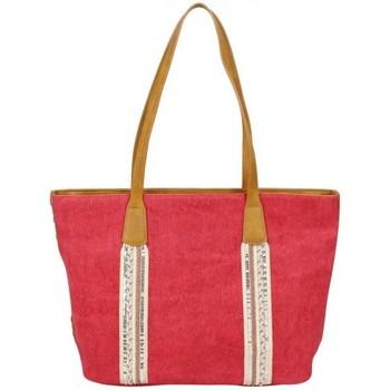Sacs Femme Cabas / Sacs shopping Fuchsia Sac cabas bande déco toile délavée  Milli Rouge