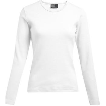 Vêtements Femme T-shirts manches longues Promodoro T-shirt interlock manches longues grande taille Femmes pomotion blanc