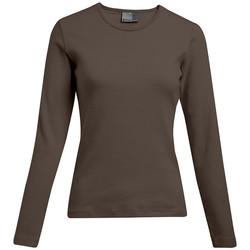 Vêtements Femme T-shirts manches longues Promodoro T-shirt interlock manches longues grande taille Femmes pomotion marron