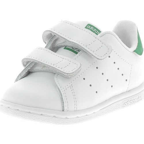 6a5ea6e12189b Chaussures Fille Baskets mode adidas Originals STAN SMITH CF STRAPPI  BIANCHE VERDI blanc