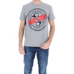 Vêtements Homme T-shirts manches courtes Guess T-Shirt Homme M91I39 Gris Mélangé Motifs Noir et Rouge Gris