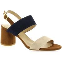 Chaussures Femme Sandales et Nu-pieds So Send Nu pieds cuir velours Cognac