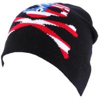 Accessoires textile Homme Bonnets Divers Bonnet Biker Noir avec tête de mort façon US Noir