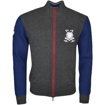 Vêtements Homme Gilets / Cardigans Hackett Gilet zippé  gris et bleu marine en laine pour homme Gris