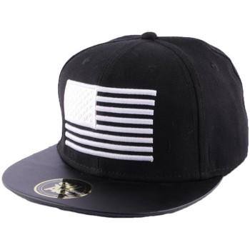 Accessoires textile Homme Casquettes Hip Hop Honour Snapback Noire avec drapeau US Blanc Noir