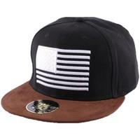 Accessoires textile Homme Casquettes Hip Hop Honour Snapback Noire avec drapeau US visière marron Noir