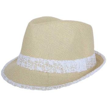Chapeaux Nyls Création Trilby Whistler Beige et Blanc Taille unique