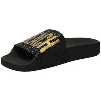 Chaussures Femme Claquettes The White Brand GLITTER BEACH PLEASE black-nero
