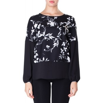 Vêtements Femme Chemises / Chemisiers Luckylu BLUSA CREPE STAMPATO 0714-bianco-nero