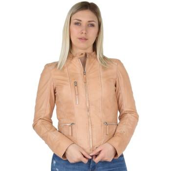 Vêtements Femme Vestes en cuir / synthétiques Oakwood Blouson  Each en cuir ref_40522 Orange Clair Orange