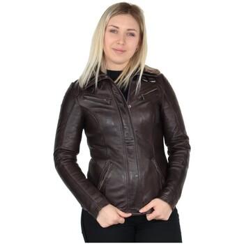 Vêtements Femme Vestes en cuir / synthétiques Daytona Blouson Rose Garden Gemma en cuir ref_38382 Reddish brown marron