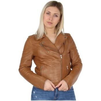 Vêtements Femme Vestes en cuir / synthétiques Pallas Cuir Veste en cuir agneau ref_42966 Camel marron