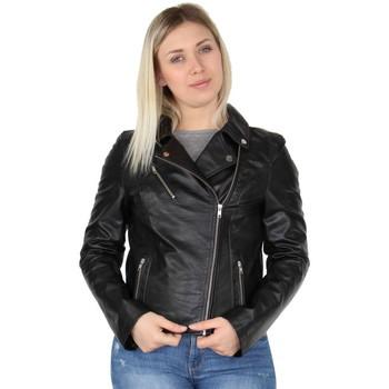 Vêtements Femme Vestes en cuir / synthétiques Pallas Cuir Veste en cuir agneau ref_42966 Noir noir