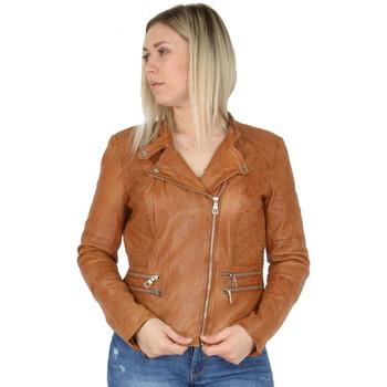 Vêtements Femme Vestes en cuir / synthétiques Pallas Cuir Veste en cuir agneau ref_sof45273 Cognac marron