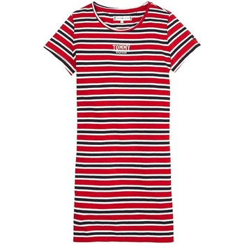 Vêtements Fille Robes courtes Tommy Hilfiger MULTI STRIPE KNIT DRESS S/S rouge