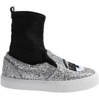 Chaussures Femme Baskets montantes Chiara Ferragni CF 2094 SILVER-BLACK argento