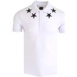 Vêtements Homme Polos manches courtes Monsieurmode Polo fashion avec étoiles Polo 411 blanc Blanc