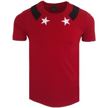 Vêtements Homme T-shirts & Polos Monsieurmode T-shirt motif étoile oversize T-shirt 419 rouge Rouge