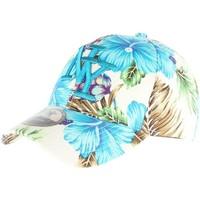 Accessoires textile Casquettes Hip Hop Honour Casquette Baseball Bleue à Fleurs NY Hawai Bleu