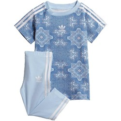 Vêtements Fille Ensembles enfant adidas Originals CC TEE SET COMPLETINO CELESTE Bleu
