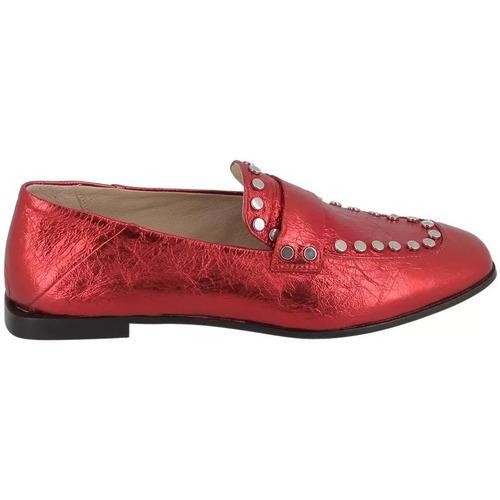 Chaussures Femme Mocassins Now Mocassins à Clous Rouge