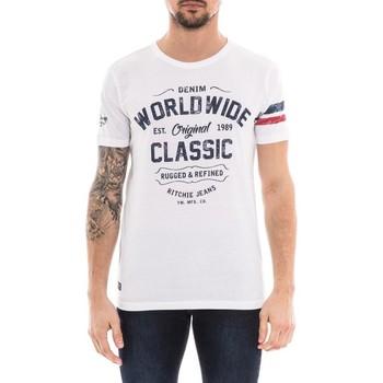 Vêtements Homme T-shirts manches courtes Ritchie T-shirt col rond pur coton NOLERO Blanc