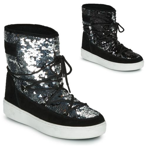 Chaussures Femme Bottes de neige Moon Boot MOON BOOT PULSE MID DISCO Noir pailleté