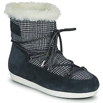 Chaussures Femme Bottes de neige Moon Boot MOON BOOT FAR SIDE LOW FUR TARTAN Marine